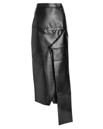 MATÉRIEL Asymmetrical Faux Leather Midi Skirt | INTERMIX®