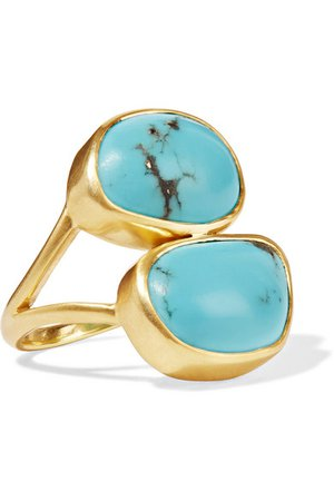 Pippa Small | 18-karat gold turquoise ring | NET-A-PORTER.COM