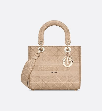 Beige Lady D-Lite Embroidered Cannage Bag Women's Fashion DIOR