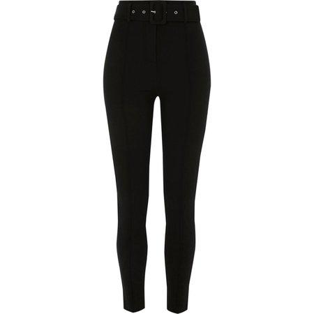 Black belted ponte skinny trouser - Skinny Trousers - Trousers - women