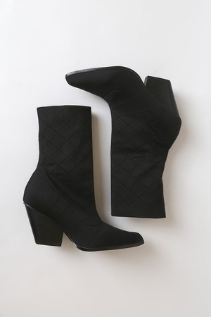 Black Sock Boots - Stretchy Mid-Calf Boots - Pointed-Toe Boots