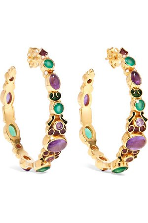 Percossi Papi | Gold-plated and enamel multi-stone hoop earrings | NET-A-PORTER.COM