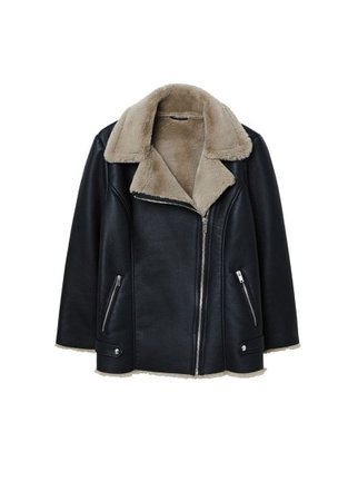 Violeta BY MANGO Faux-fur lining biker coat
