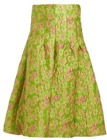 Sculpted Floral Brocade Midi Skirt - Womens - Green Multi