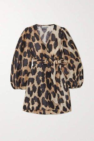 Leopard-print Linen And Silk-blend Wrap Mini Dress - Leopard print