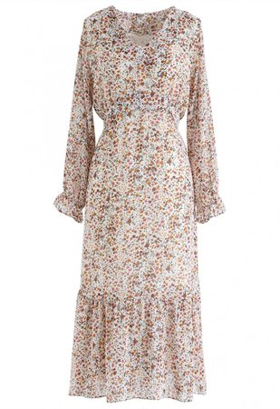 Floret V-Neck Frilling Chiffon Dress in Ivory - NEW ARRIVALS - Retro, Indie and Unique Fashion