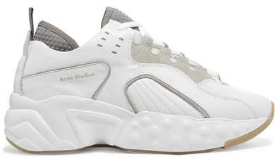 Manhattan Leather, Suede And Mesh Sneakers - White