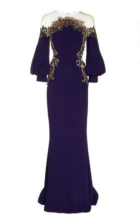 Embroidered Crepe Satin Illusion Neckline Gown by Marchesa | Moda Operandi