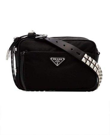 black pyramid stud embellished cross body bag
