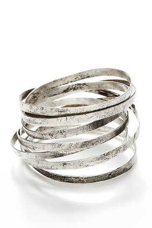 BY THE STONES WIRE Silver Wide Bangle – PRET-A-BEAUTE.COM