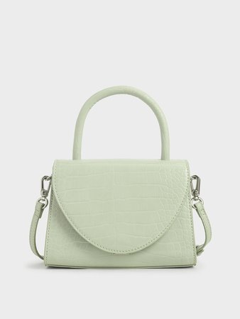 Mint Green Croc-Effect Structured Top Handle Bag   CHARLES & KEITH SG