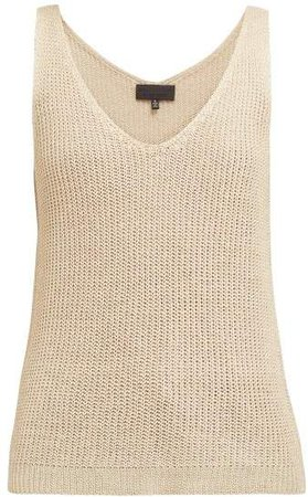 Nala Wide Gauge Knitted Linen Camisole - Womens - Ivory