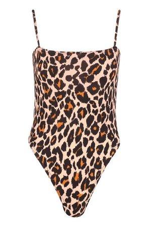 Slinky Leopard Print Square Neck High Rise Bodysuit | Boohoo