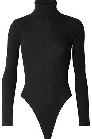 RE/DONE   Ribbed stretch-cotton jersey turtleneck thong bodysuit   NET-A-PORTER.COM