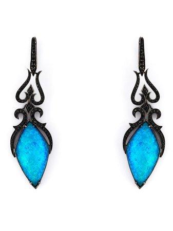 Stephen Webster 'crystal Haze' Diamond Long Earrings WE836 Black | Farfetch