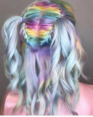 rainbow pastel pigtails