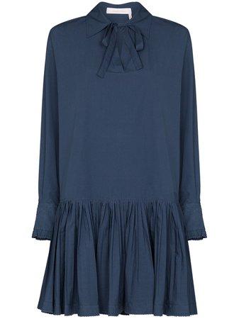 See By Chloé pussy-bow Shift Mini Dress - Farfetch