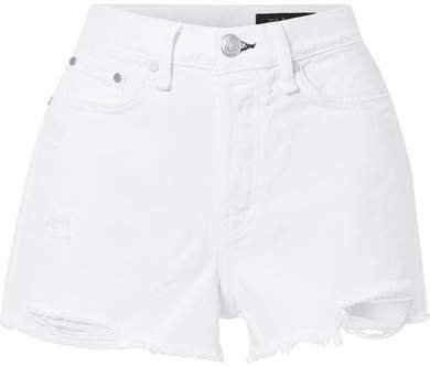 Maya Distressed Denim Shorts - White