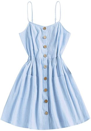 Amazon.com: ZAFUL Women's Mini Dress Adjustable Spaghetti Straps Sleeveless Floral Frilled Boho Beach Dress Grapefruit-A L: Clothing