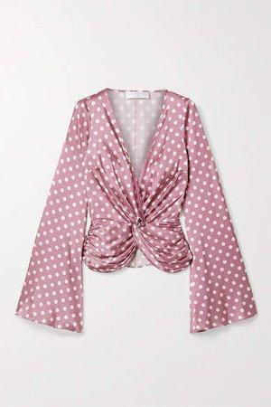 Romy Twist-front Polka-dot Silk-blend Satin Top - Pink
