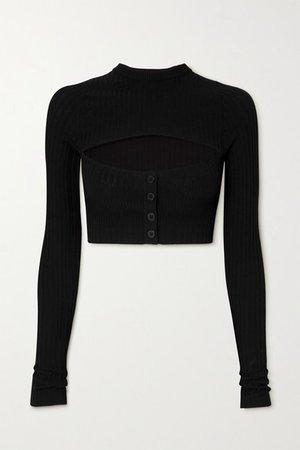 Andrea Adamo - Cropped Cutout Ribbed-knit Top - Black