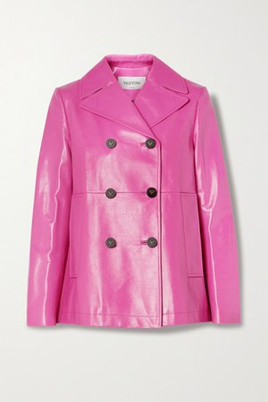 Double-breasted Leather Coat - Pink