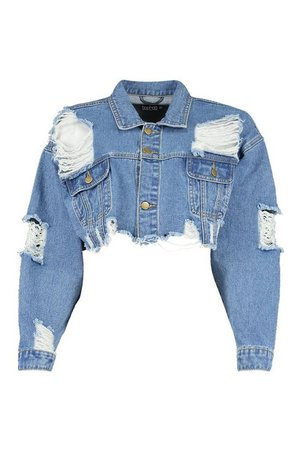 Distressed Cropped Denim Jacket | Boohoo