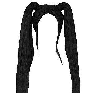 black pigtails hair edit png
