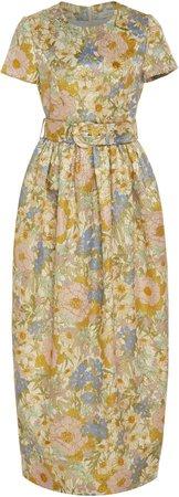 Belted Floral-Print Silk Midi Dress