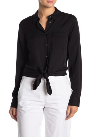 Theory | Tie Front Silk Blend Blouse | Nordstrom Rack