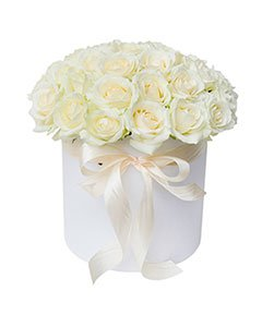 White Roses in a Round White Box.