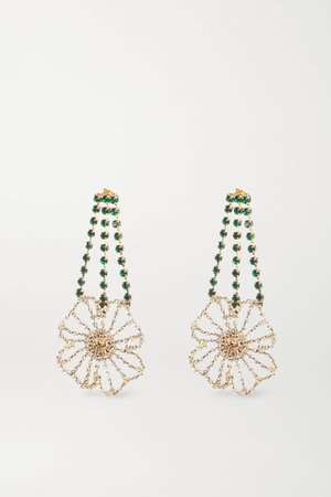 Gold Gold-tone crystal earrings | Rosantica | NET-A-PORTER