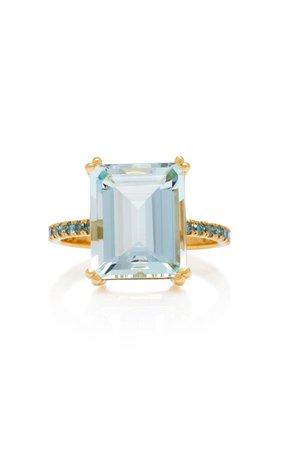 18K Aquamarine And Blue Diamond Ring by Yi Collection | Moda Operandi