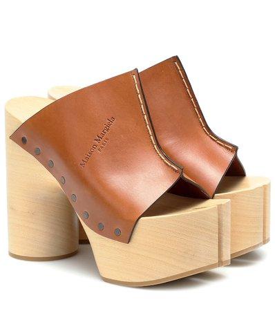 Maison Margiela - Tabi leather platform sandals | Mytheresa