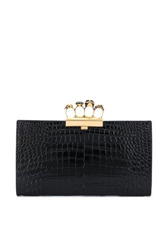 Alexander McQueen Four Ring Embossed Clutch Bag - Farfetch
