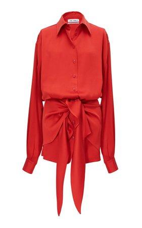 Tie-Front Satin Mini Shirt Dress by The Attico | Moda Operandi