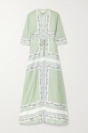 Printed Cotton-voile Midi Shirt Dress - Green