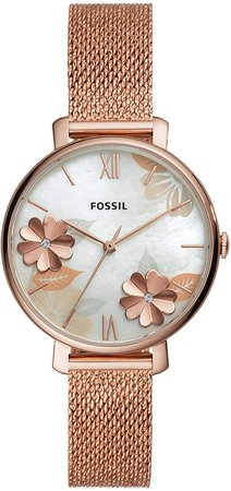 Fossil Women's Jacqueline Quartz Watch with Stainless Steel Strap, Rose Gold, 14 (Model: ES4534): Fossil: Watches