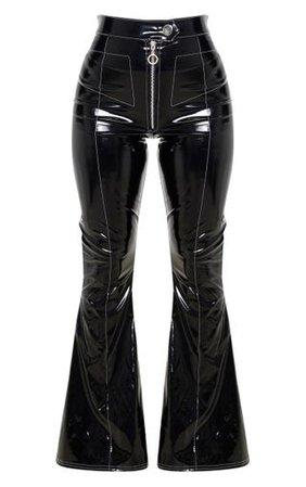 Black Vinyl Flared Trouser PrettyLittleThing