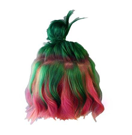 green pink hair