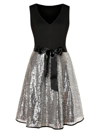 Plus Size V Neck Bowknot Sequined Party Dress   Rosegal
