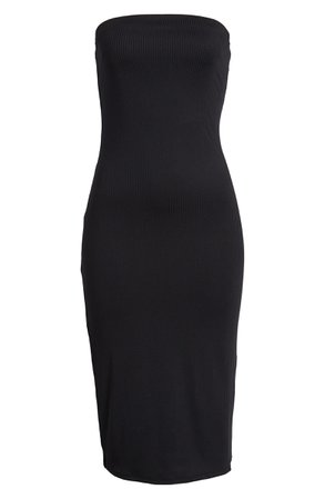 Leith Ribbed Midi Strapless Tube Dress Black