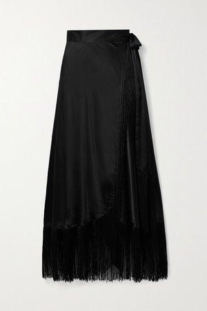 Black Amara fringed silk-satin wrap maxi skirt | Miguelina | NET-A-PORTER