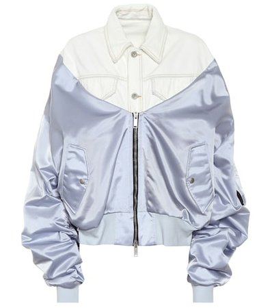 Denim and satin bomber jacket