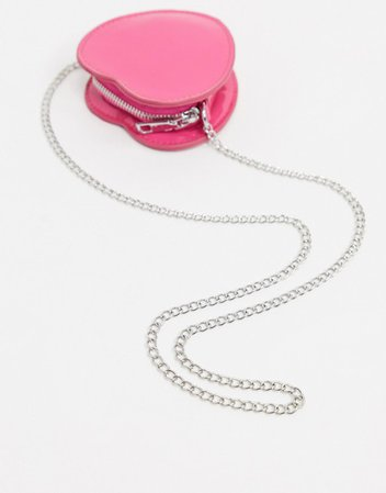 My Accessories London Exclusive circle mini heart body bag with chain strap in pink patent | ASOS