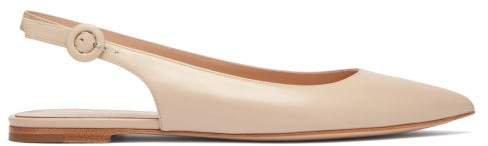 Point-toe Leather Slingback Flats - Womens - Beige