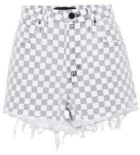 Distressed Checked Denim Shorts