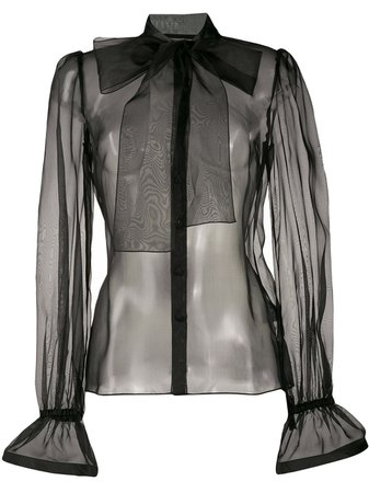 Dolce & Gabbana Pussy Bow Sheer Blouse - Farfetch