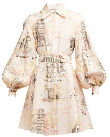 Rowena Belted Italy Print Dress - Womens - Pink Print