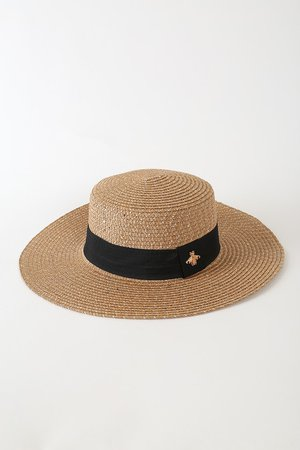 Brown Sequin Hat - Paper Straw Hat - Bee Charm Hat - Straw Hat